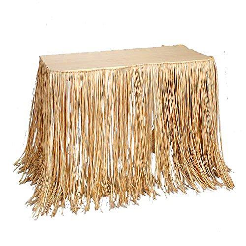 100% Natural Tropical Islander Raffia Grass Table Skirt Party Decor ()