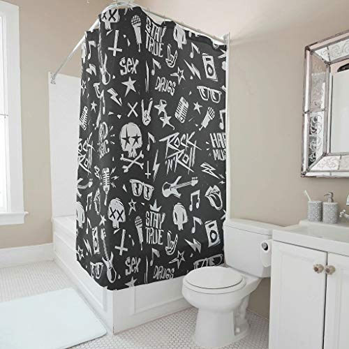 Nchjjo Hard Music Modern Textile - 2019 New Black Style Decoration Decor Design with Hooks Water Soap Resistant Shower Curtain for Bathtubs White 36x72inch