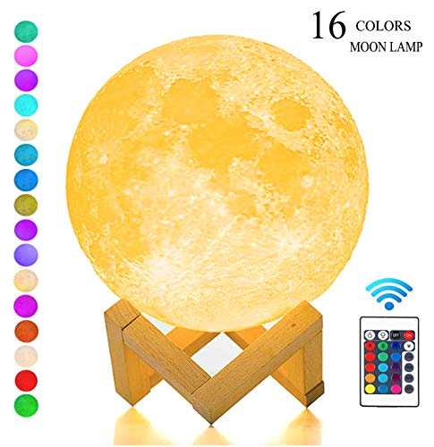 SEGOAL Moon Lamp 5.9 Inch Night Light for Kids Moon Light Lamp with Stand, Touch& Remote Control 16 Colors and USB Charging Decorative Night Light, Best Gifts for Kids