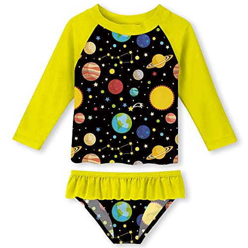 Baby Girls Rash Guard Two Pieces Set Party Style Full Coverage Long Sleeve Shirt Planet Swimwear Yellow 2T from ALOOCA