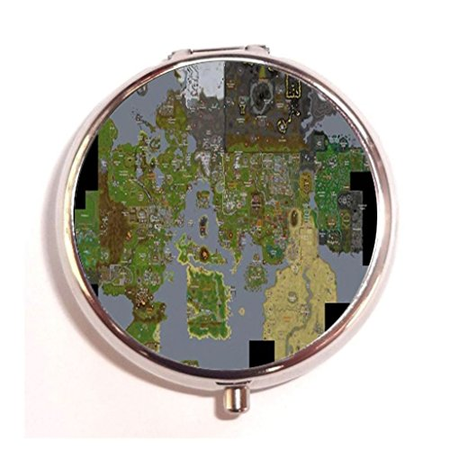 Runescape Map Custom Round Pill Box Stainless Steel Medicine Tablet Organizer or Coin Purse