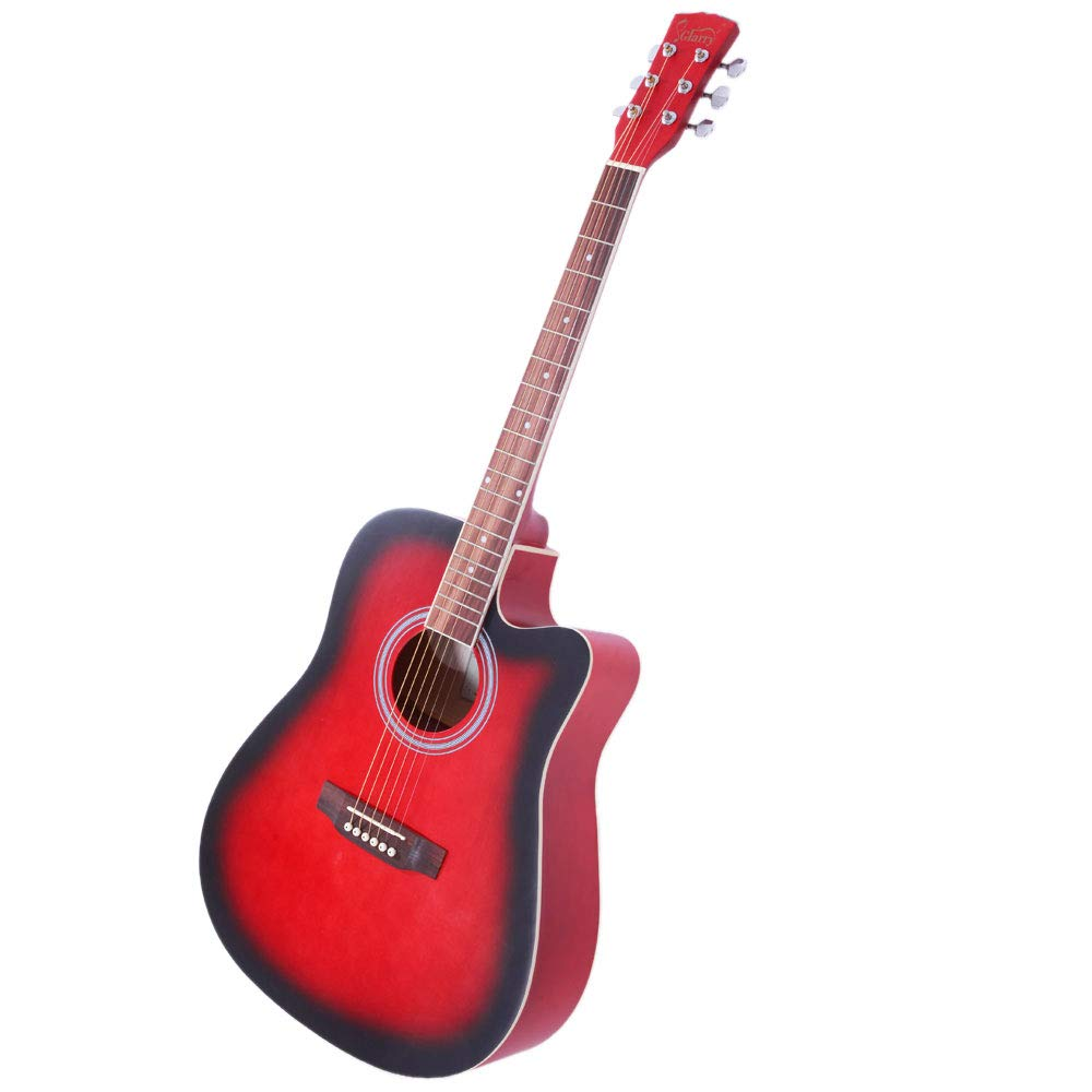 Z ZTDM 41'' Cutaway Folk Guitar for Beginner with Spruce Front and Rosewood Fingerboard, Carrying Bag, Guard Board and Wrench Tool Included, Gradient Red
