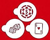 Designer Stencils C768 Casino Night Cookie Stencil Set, (Dice, Cards, Poker Chip) Beige/semi-transparent