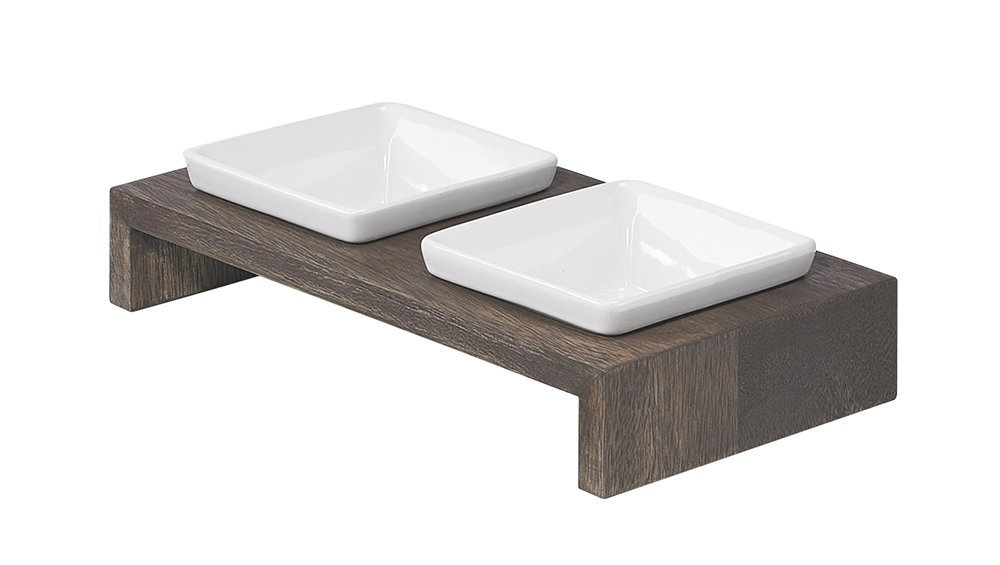 Bowsers Artisan Diner Double Feeder, X-Small, Walnut