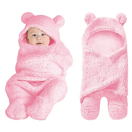 XMWEALTHY Cute Baby Items Newborn Plush Nersery Swaddle Blankets Soft Infant Girls Clothes Pink (Best Items For New Baby)