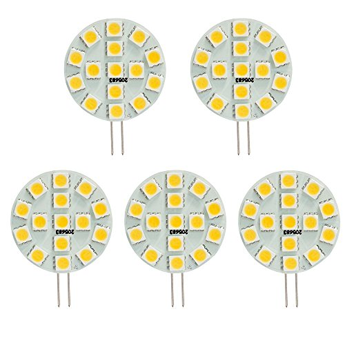 HERO-LED SG4-15T-DW Side Pin G4 LED Disc Halogen Replacement Bulb, 3W, 30W Equal, Daylight White 5000K, 5-Pack(Not Dimmable) - 30w Replacement
