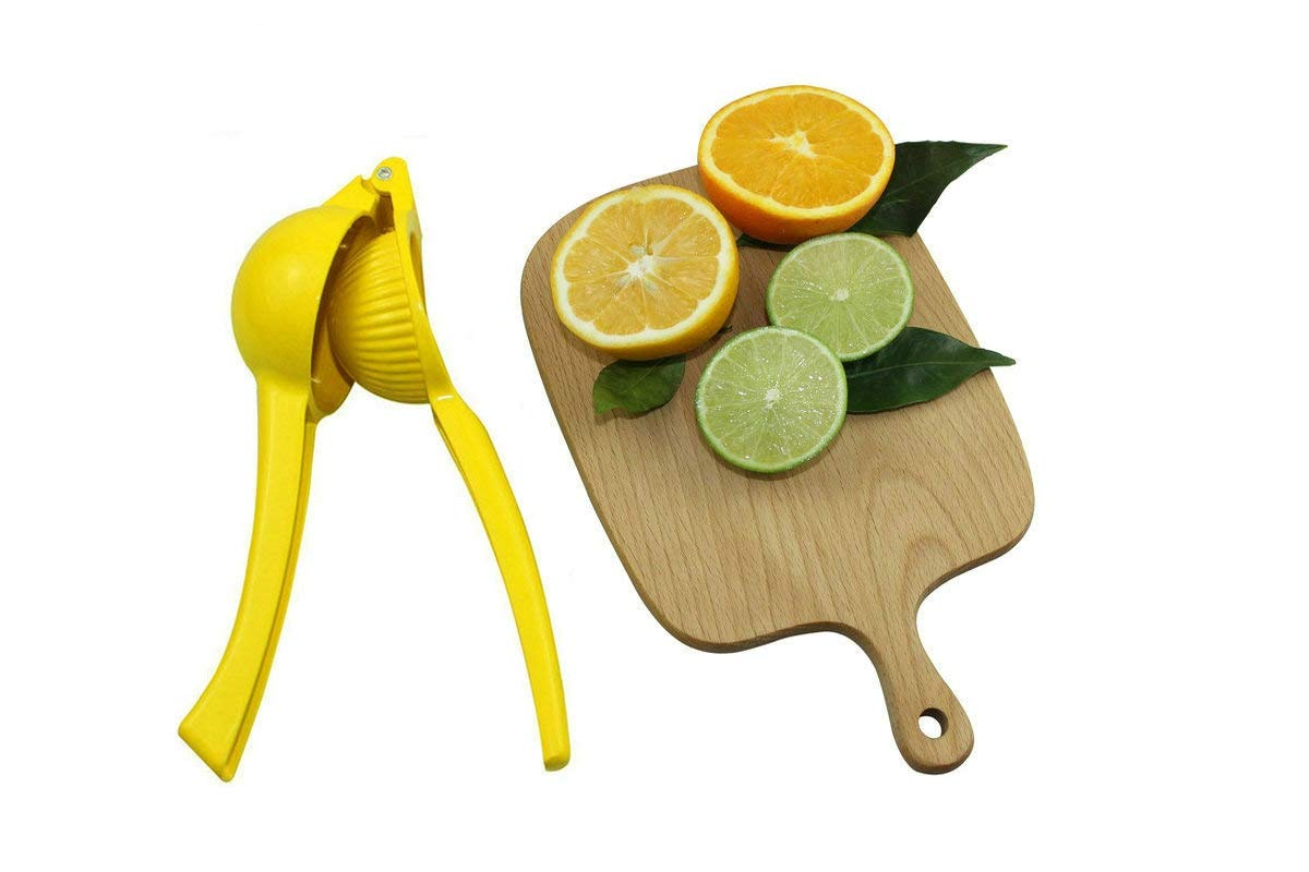 Lemon Squeezer, Lime Squeezer Manual Hand Presser Citrus Juicer with High Strength, Heavy Duty Lemon Lime Juicer Yellow