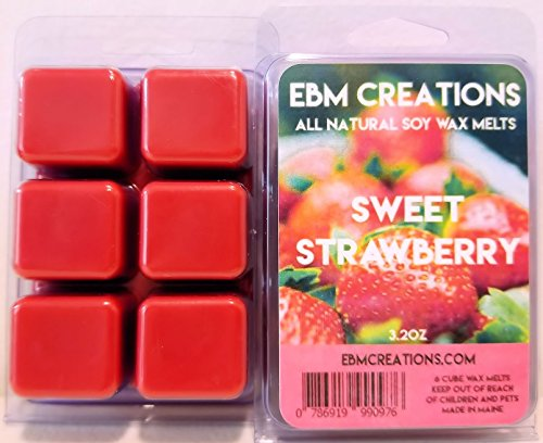 Sweet Strawberry - Scented All Natural Soy Wax Melts - 6 Cube Clamshell 3.2oz Highly Scented!