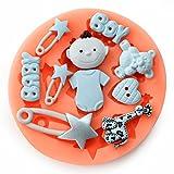 Longzang F0485 Baby Shower Fondant Mold Silicone Sugar Craft Molds, Mini