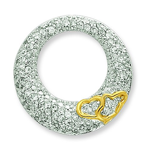 Sterling Silver Cz Open Circle With Gold-Plated Hearts Slide Pendant