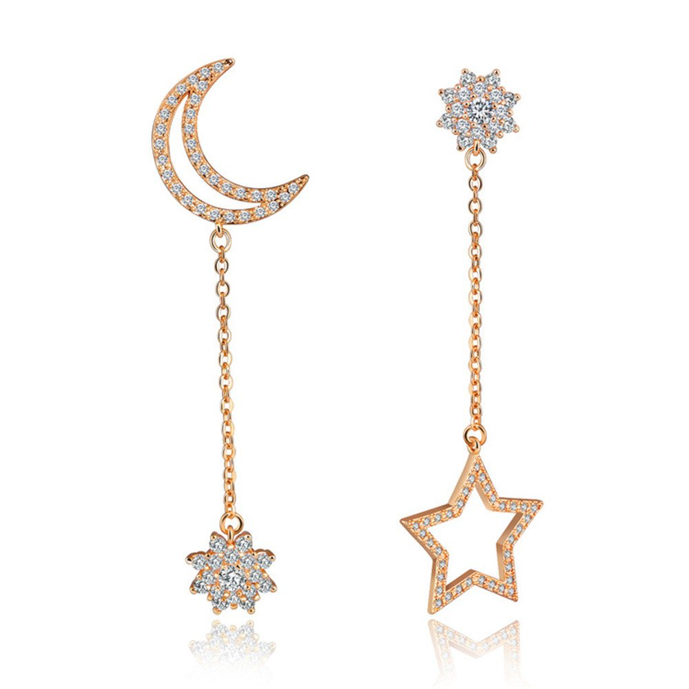 Mother's Day Gift Platinum Plated Crystal Zircon Moon and Star Ear Jackets and Earrings (White)