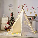 Dako Living White Canvas Indian Kids Teepee Playhouse