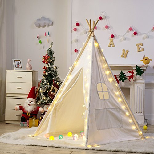 Dako Living Kids Teepee White, 100% Natural Cotton Canvas Teepee Tent for Kids, Comes with Carrying Bag and Floor Mat