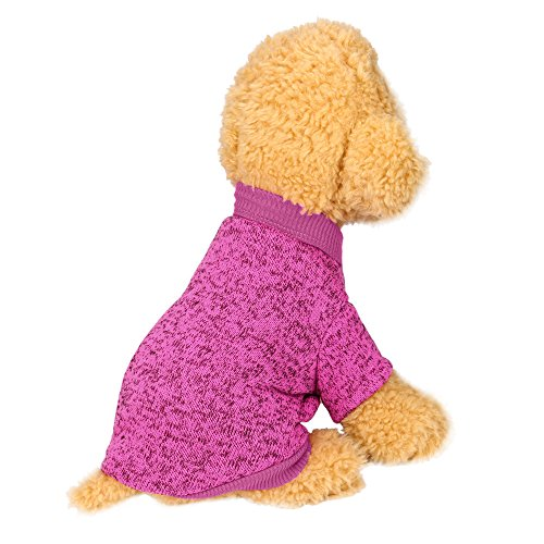 Farjing Pet Dog Sweater,Warm Puppy Sweater Fleece Sweater Clothes (M,Pink ()