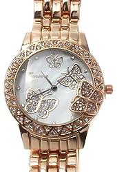 Geneva Rose-gold Tone Classic Butterfly Fashion Watch