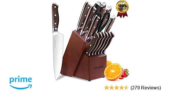 Kitchen Knife Set 15 Piece with Wooden Block Sharpener and Serrated Steak Knives, homgeek Professional High Carbon Steel Chef Knife Block Set ...