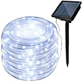IMAGE 8 Modes Solar Rope Lights Outdoor String Lights 78.7FT 20M Waterproof 200LED for Indoor Outdoor Garden Party Patio Lawn Decor White Color