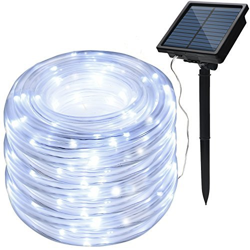 IMAGE 8 Modes Solar Rope String Lights 78.7Feet 20M Waterproof 200LED for Indoor Outdoor Garden Party Patio Lawn Decor White Color