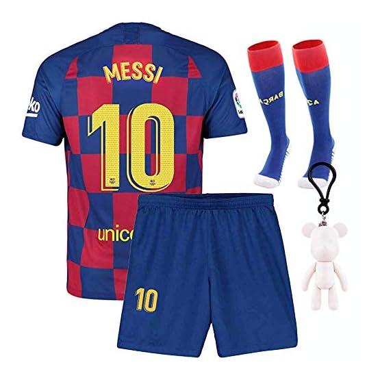 Sweat-Shirts Maillots Longue Manche de Football Jersey de Sport 2019/2020 Barcelona #10 Messi Vêtements pour Enfant Garçon, T-Shirt et Short et Chaussette