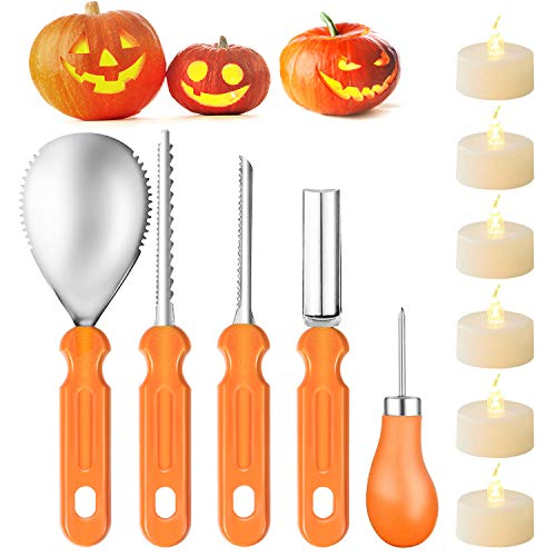 ANGTUO Pumpkin Carving Set, 5 Pieces Stainless Steel Halloween Pumpkin Carving Tool Kit DIY Pumpkin Decoration with Use Instruction Manual and 6pcs LED Tealight Candles