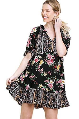 - Umgee Women's Floral Mixed Print Ruffle Sleeve Mini Dress (Small, Black Mix)
