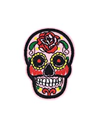 Rose Sugar Skull Embroidered Iron On Patch Applique, Pink Multi