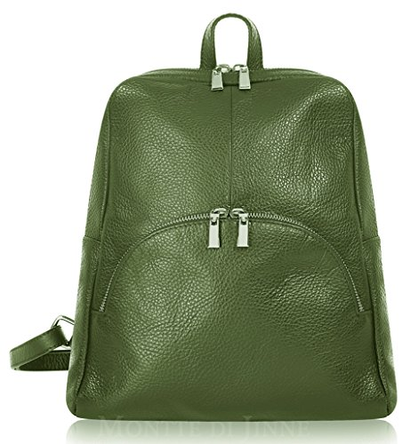 Green Italian Montte 100 Leather Di Jinne Italian Olive Backpack Soft Leather fwv0fq