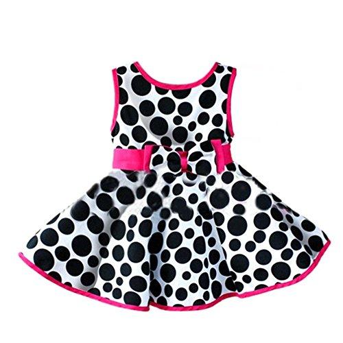 Metee Dresses Girls Circle Printed Sleeveless Bowknot Princess Dress(M(100cm, 2-3 Years))