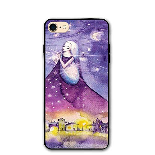 Haixia IPhone 7/8 Phone Shell 4.7 Inch Girls Fictional Lady Stands In The Sky Arrange The Stars Angel Fantasy Deity Symbol Violet Yellow