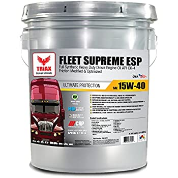 FULL SYNTHETIC 15W-40 TRIAX FLEET SUPREME API CK-4 - Friction Modified / Optimized with Moly & Boron - Extreme Durability - TOP EBAY SELLER (5 GAL PAIL)