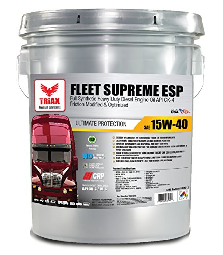 Triax Full Synthetic 15W-40 Fleet Supreme API CK-4 - Friction Modified/Optimized with Moly & Boron - Extreme Durability - TOP Ebay Seller (5 GAL Pail)