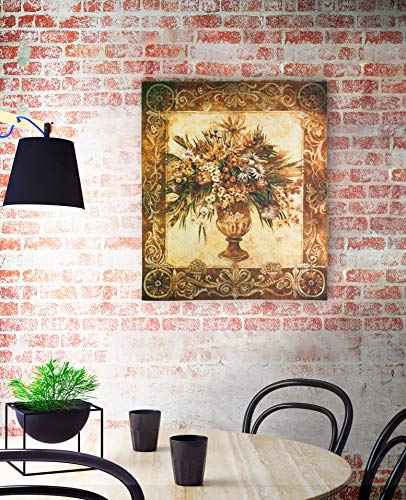 Tuscan Urn Sienna by Liz Jardine - Woven Tapestry Wall Art Hanging for Home Living Room & Office Decor - Vase Flower Bouquet Warm Earthy Color Floral Theme - 100% Cotton - USA 53X45