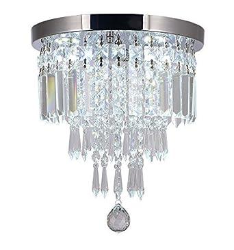 Moooni Mini Crystal Chandelier Modern Flush Mount Ceiling Light Fixture Pendant Ceiling Lamp Round Chandeliers for Dining Rooms Hallway Foyer Entrance D 10 x H 12 2 Lights Chrome