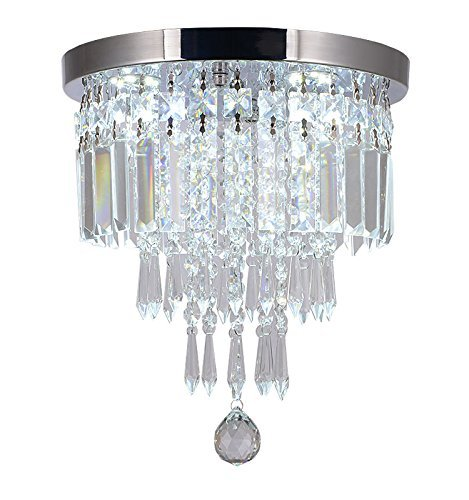 - Moooni Mini Crystal Chandelier Modern Flush Mount Ceiling Light Fixture Pendant Ceiling Lamp Round Chandeliers for Dining Rooms Hallway Foyer Entrance D 10