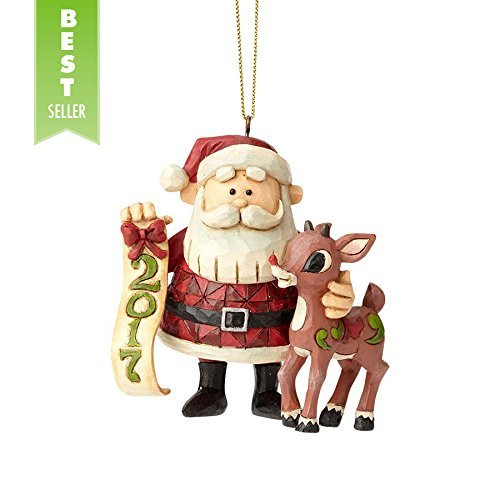 Large Santa Hanging Ornaments - Enesco Traditions by Jim Shore Dated 2017 Rudolph/Santa 3.25 in Hanging Ornament