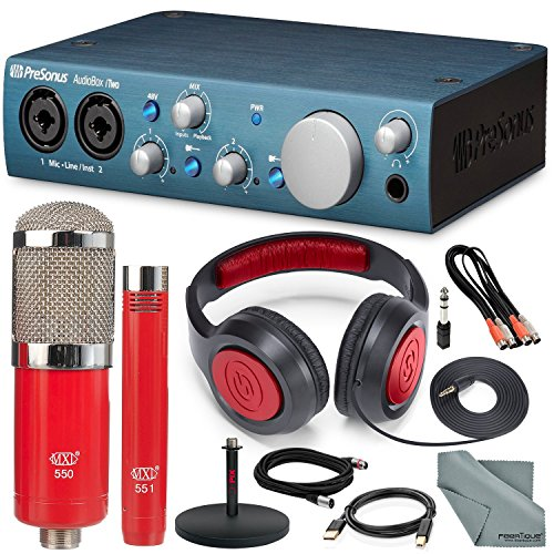 PreSonus AudioBox iTwo USB 2.0 & iPad MIDI/Audio Recording Interface and MXL 550/551 Microphone Ensemble Kit + Delxue Bundle by Photo Savings