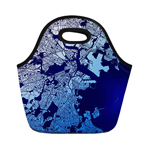 Semtomn Neoprene Lunch Tote Bag Boston Two Tone Map Artprint Outline Ready for Color Reusable Cooler Bags Insulated Thermal Picnic Handbag for Travel,School,Outdoors, Work