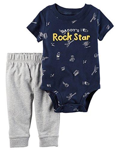 Rock Star Pants - Carter's baby boys 2-Piece Bodysuit Pant Set (Rock Star) (Newborn)