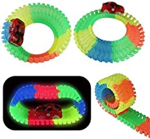 Circuito Coches Niños, 240 Piezas Pista de Coches con 2 Coches, Flexible Coches Juguete Piezas de La Pista Niños Para 3 4 5 6