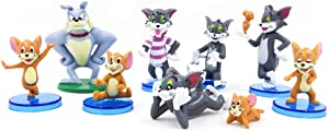 9 Piece Tom and Jerry Figurine Birthday Cake Topper, Tom and Jerry Figure Collection Playset Doll Toy, Cake Decoration