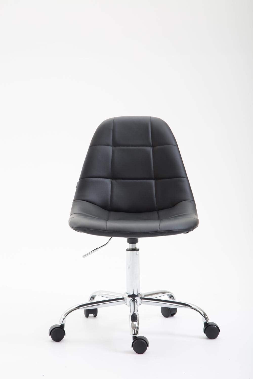 CLP Chaise De Bureau Reims avec Assise Matelassée en Similicuir  Chaise de  Bureau Ajustable en Hauteur Et Pivotante  Piètement Métal Chromé,