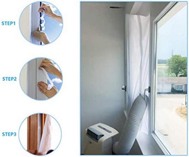 Feng - Junta de ventana para el aire acondicionado móvil, funciona con todas las unidades de aire acondicionado móviles y secadora, apagado de aire caliente, instalación fácil: Amazon.es: Bricolaje y herramientas