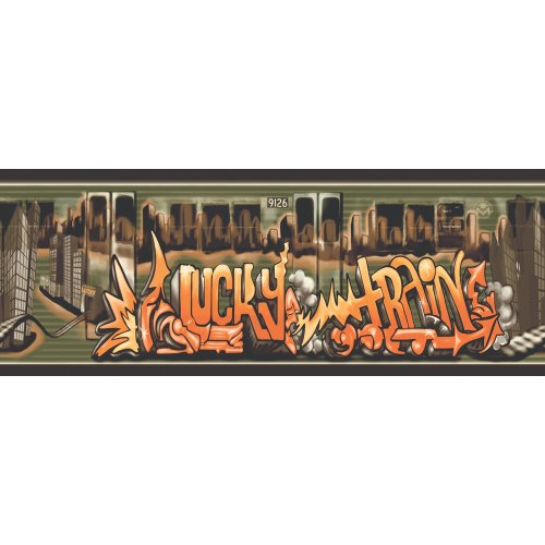 Decorate By Color BC1581123 Orange and Green Lucky Train Border (Lucky Border Train)