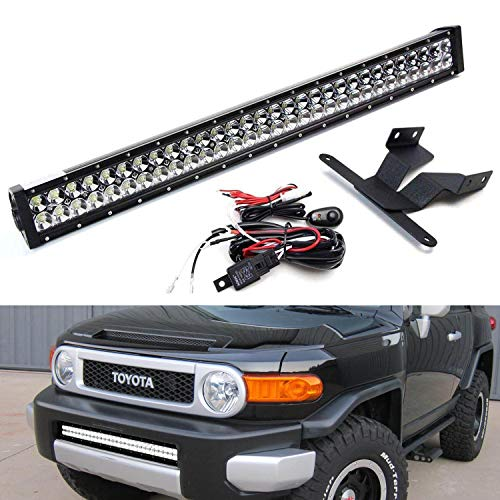 iJDMTOY Lower Grille 30-Inch LED Light Bar Kit For 2007-14 Toyota FJ Cruiser, Includes (1) 180W High Power LED Lightbar, Lower Bumper Opening Mounting Brackets & On/Off Switch Wiring Kit