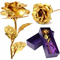 New New Gold Foil Plated Rose Valentines Day Gift Golden Rose Flower Gift Box Decor By KTOY