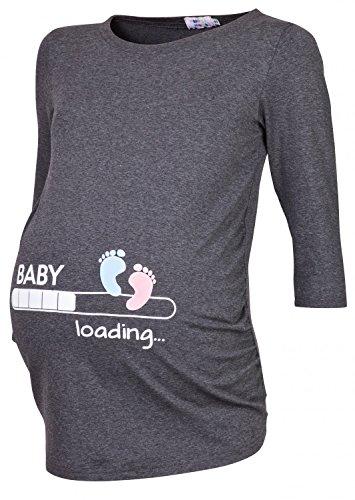 Happy Mama. Para Mujer Camiseta premamá estampado Baby Loading y Bebé pies. 549p Grafito