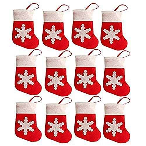 HMILYDYK 12Pcs Christmas Sock Party Decorations Snowflake Tableware Cutlery Silverware Holders Candy Pouch Bag Hanging Accessories for Home Restaurant Decor