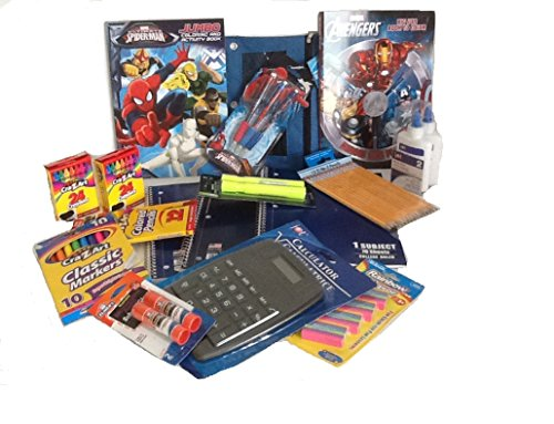 Back To School Supplies Spider-man Avengers bundle pkg (Spider Man Pencil Sharpener)