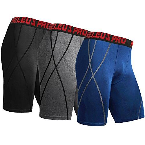 """Neleus Men's 9"""" Compression Shorts Workout Sports"""