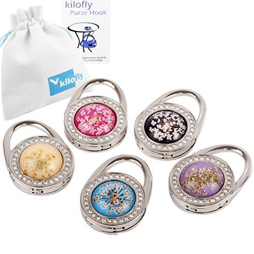 Keychain Purse Hook (kilofly Foldable Purse Hook Handbag Hanger Holder - Set of 5, with Gift Pouch)